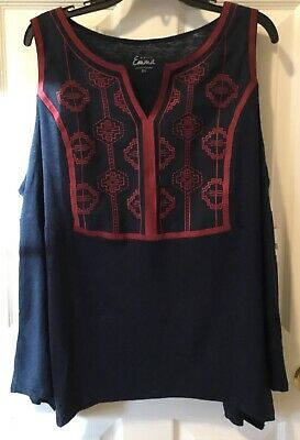 03ee823de8729 Simply Emma Womens Plus 2X 3X Embroidered Tank Top Sleeveless V-Neck Navy  Copper