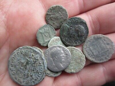 Lot Of 9 Roman Bronze And Silver Coins Uncleaned Rare