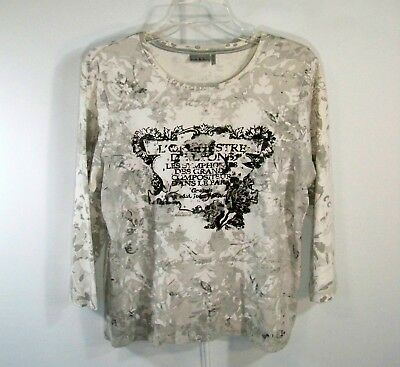 4e1f75a8274 NICOLE MILLER Sz XL Grey Embellished 100% Cotton Knit Pullover Scoop Neck  Top