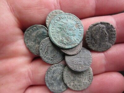 Lot Of 9 Roman Bronze Coins Uncleaned Rare