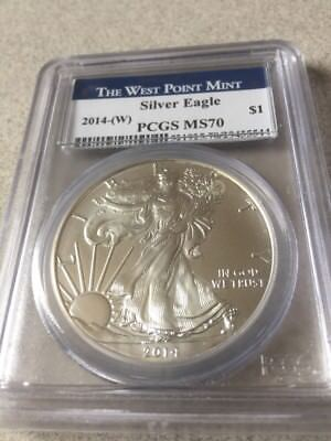 2014-(W) Silver Eagle  PCGS MS70  The West Point Mint