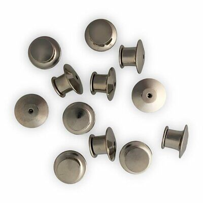 Silver Metal Locking Pin Back Keepers Clasps For Lapel Pins - 12 Pack
