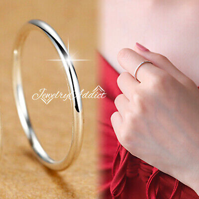 925 GENUINE Sterling Silver WOMENS Plain Eternity Thin Band Stack Wedding Ring