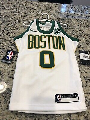 size 40 707fb ad80a NIKE NBA BOSTON Celtics City Edition Jayson Tatum Jersey Sz Youth Small Ge  Patch