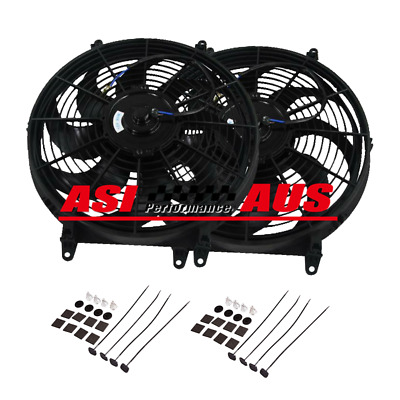 """16"""" 16inch ELECTRIC THERMO FAN +MOUNTING KIT PULL PUSH CURVED BLADE RADIATOR fan"""
