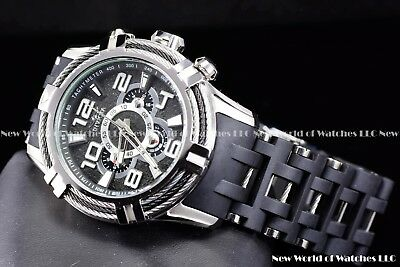 Invicta Men 51mm Bolt Sea Spider Hybrid Tri Cable Alloy Chron Silver Black Watch