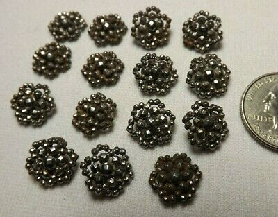 15 Antique Victorian Small Cubicle Balls connected SILVER Shade Metal Buttons