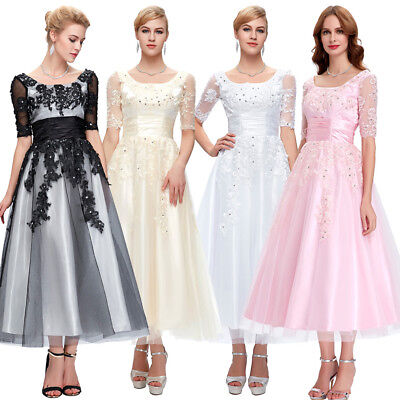 55782935103 Sale~ Womens Lace Tulle Bridal Ball Gown Wedding Dance Swing Evening Party  Dress