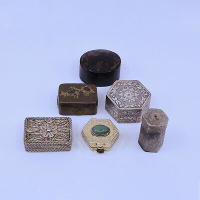Fantastic set of Chinese & Japanese Sterling Silver / Bronze pill & snuff box
