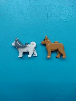 Lego Animal Land Lot of 2 Minifigures Dogs Husky and German Shepherd!