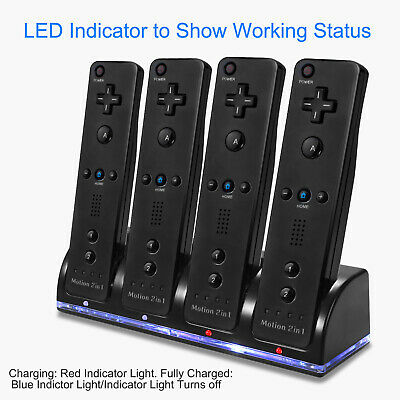 4x 2800mAh Battery + Charger Charging Dock Station For Wii Remote Controller US