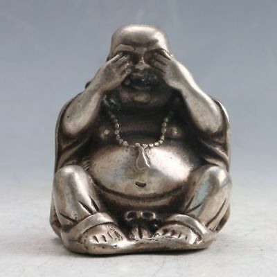 Chinese Tibet Silver Hand-carved Buddha Statue  j