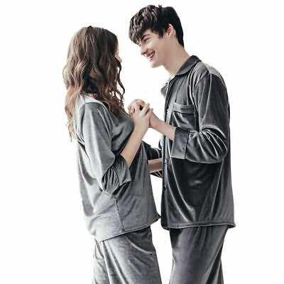 Women Mens Velvet Pajamas Set Homewear Sleepwear Soft Warm Nightwear Top+Pants