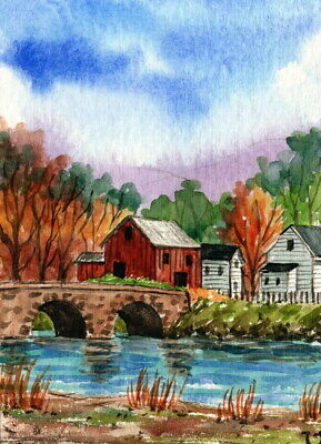 ACEO Original Watercolor Painting Countryside Village in Autumn/River Bridge ATC
