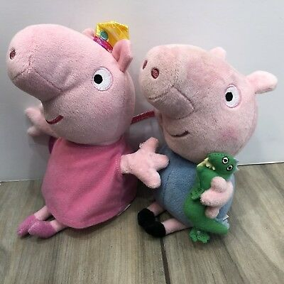 970e227a86b TY Beanie Peppa Pig Princess Fairy Crown Wings and George With Dinosaur