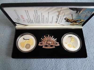 2008 Sands Of Gallipoli Proof Quality Medallion Set Of Two & Brass Badge