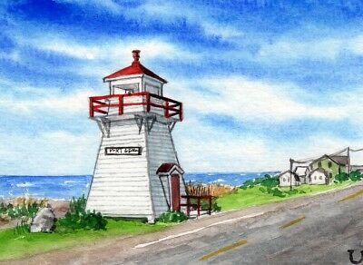 ACEO Original Watercolor Port George Lighthouse,Nova Scotia/Canada/Seascape ATC