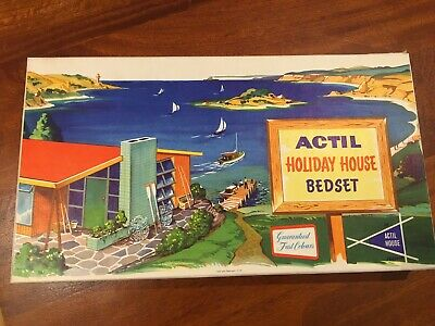Classic Vintage Actil Holiday House Bedset In Original Wrapping And Box