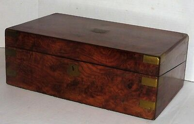 Antique English Burled Walnut Campaign Writing Slope Desk