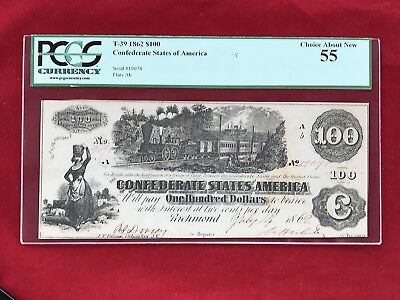 """T-39  1862 $100 Dollar CSA Confederate """"Train"""" Note *PCGS 55 Choice About New*"""