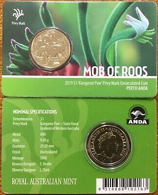 2019 $1 Perth ANDA Mob of Roos Kangaroo Paw Privymark carded coin.