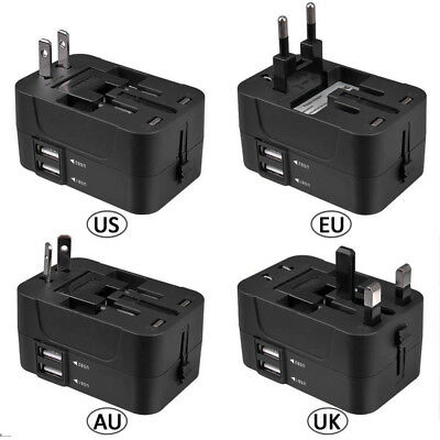 Universal Adapter Wall Charger AU UK US EU AC Power Plug Converter 2 USB XR