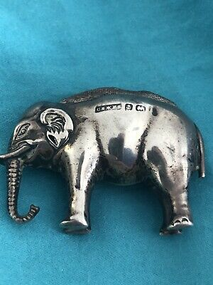 Antique Sterling Silver Elephant Pin Cushion Edwardian C1904! Very Collectable