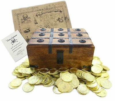 """Well Pack Box Wooden Pirate Treasure Chest 9"""" x7"""" x5"""" with 144 Plastic Gold Coin"""