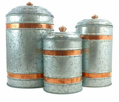Galvanized Canisters Farmhouse Rustic Metal Set of 3 Flour Sugar Container Band