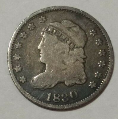 1830 Capped Bust US silver half dime. VG-F (lot#2)