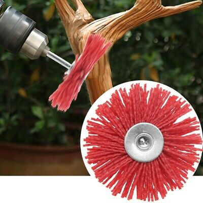 Abrasive Steel Deburring Wire Brush Head Polishing Red Nylon Wheel Cup Shank