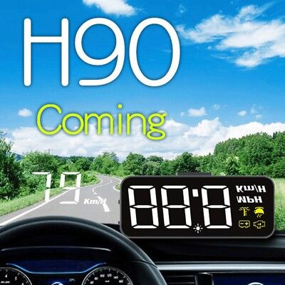H90 Universal Alarm Car GPS HUD Head Up 200km/h Speed Display Overspeed War A1Y3
