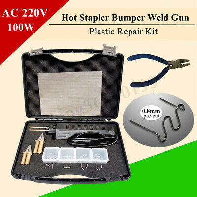 AC 220V Auto Hot Stapler Car Bumper Fender Fairing Welder Gun Plastic Repair Kit