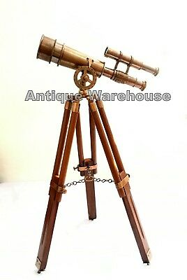 Antique Brass Double Barrel Spyglass Telescope With Wooden Tripod Decorative
