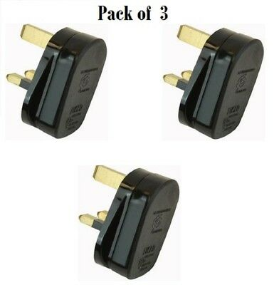 3 x Standard UK Fused 13A 13 Amp Black Mains 3 Pin Houshold Plugs