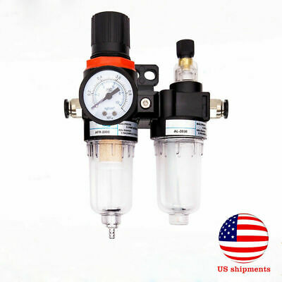 Air Compressor Filter Moisture Water Oil Separator Trap Tool Regulator Gauge Kit