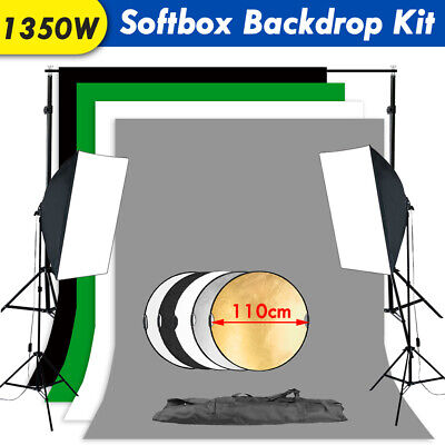 Softbox+5IN1 Reflector+4x Backdrop Stand Kit Soft Box Continuous Lighting Studio