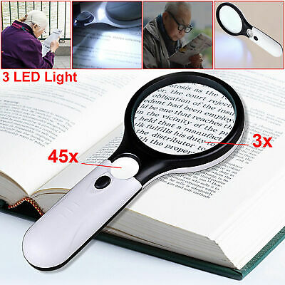 Handheld 45X Magnifying Reading Glass Lens Jewelry Loupe With 3 LED Light Lamp