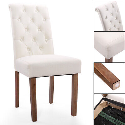 2 PC Solid Wood High Back Tufted Parsons Dining Chair Set for Dining Room Beige