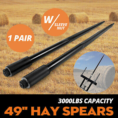"""Two 49"""" 3000 lbs Hay Spears Nut Bale Spike Fork Pair Forged Bales Hay Attachment"""