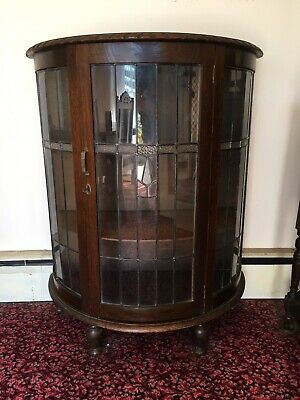 Antique Semi Circular Lead Glass Crystal Display Cabinet With Carved Rope Trim