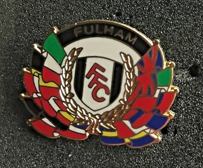 Rare Fulham European Flags Enamel Pin Badge