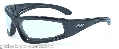 Wide Fitting Low Light Motorcycle Glasses/Clear Biker sunglasses Inc Pouch & P&P