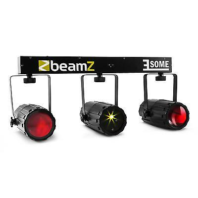 SET JEU DE LUMIERE BEAMZ 3 SOME 3xSPOT 57 LEDs LASER MICRO SUPPORT LICHTEFFECT