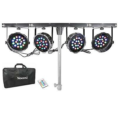 BeamZ PARBAR 4-Way Kit Projecteur 18x LED 1W RVB DMX Barre en T + Sac