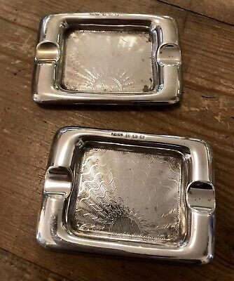 Pair of Solid Silver Art Deco Sunburst Ashtrays, Hallmarked Birmingham 1934
