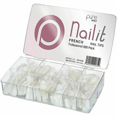 Pure Nails - French Nail Tips Pack - (500 Nail Tips) 500 Assorted Tips