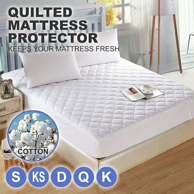 Cotton Quilted Aus Made Fully Fitted Bed Mattress Protector(All Size)