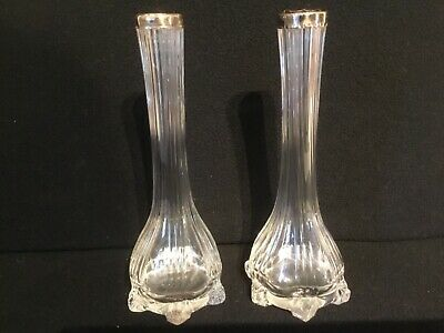 Pair of English hallmarked London 1931 silver topped glass bud vases 6 in tall.