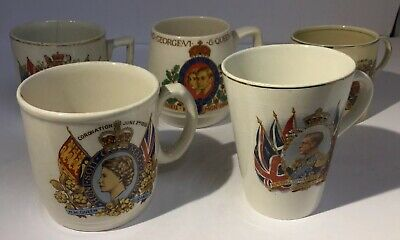 Collection Of 5x Coronation & Jubilee Mugs From 1911 To 1953 Edward, Mary Etc